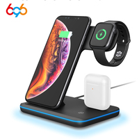 696 Z5 3 in 1 15W Qi Wireless Charger Stand For Apple Watch 4/3/2/1 for iPhone Xr X 8 for Samsung Fast Charging Station Dock New