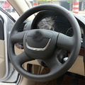 High Quality cowhide Top Layer Leather handmade Sewing Steering wheel covers protect For Skoda Fabia/Octavia a5/Yeti
