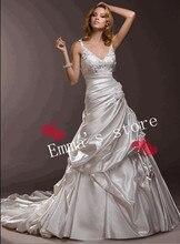 MORI-2013 Custom Made Free Shipping Fashion Off 5% Sexy Spaghetti A-Line Ruched Bodice Floor Length Applique Bridal Wedding Dres