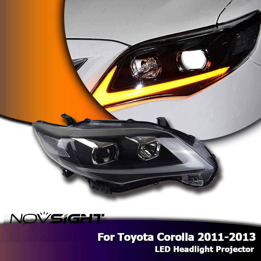 NOVSIGHT 2X LED Headlights Assembly Projector Headlamp DRL Fog Light For Toyota Corolla 2011-13