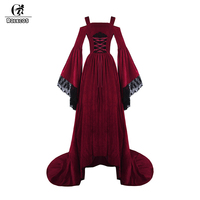 ROLECOS Victorian Dress Women Ball Gown Party Medieval Renaissance Color Red and Blue Soft Velvet for Women Cosplay Costumes