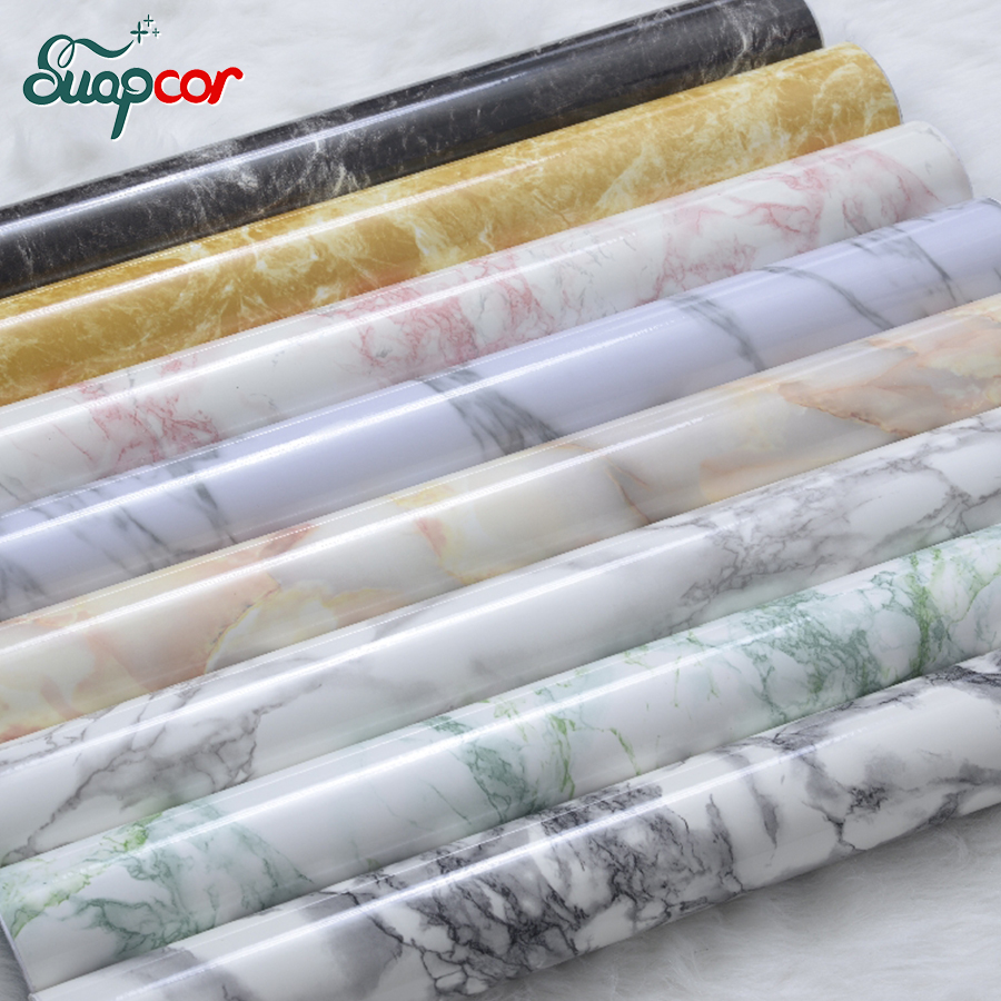 3M /5M Marble PVC Self adhesive Wallpaper Windowsill Desk Bar Waterproof Wall Sticker Kitchen Cabinet Stove Oil proof Stickers