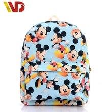 Cute Cartoon Mickey Print Women Canvas Backpacks Children Kids School Book Bags For Teenagers Girls Laptop Bags Printing Mouse