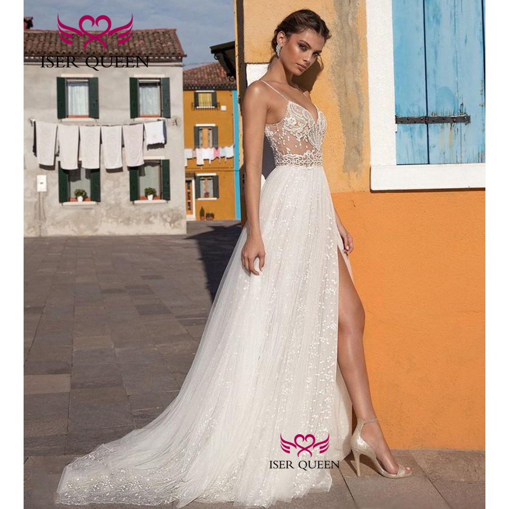 Sexy Spaghetti Straps Delicate Embroidery Illusion Tulle Vent Beach Wedding Dresses Pearls Sequined Vestidos Para Boda W0343