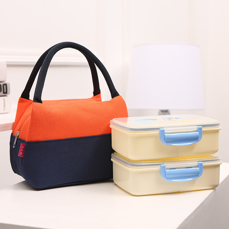 Brand Canvas Lunch Bags For Women Fashion Portable Thermal Insulated Box Bag Tote Bolsa Comida Kids School