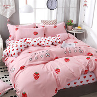 High Quality Pink Love Strawberry Brief Bedding Set Bedding Sets