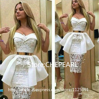 2019 White Lace Prom Dresses Gold Sashes Unique Fashion Waist Design Knee Length Prom Gown vestidos de formatura Evening Dress