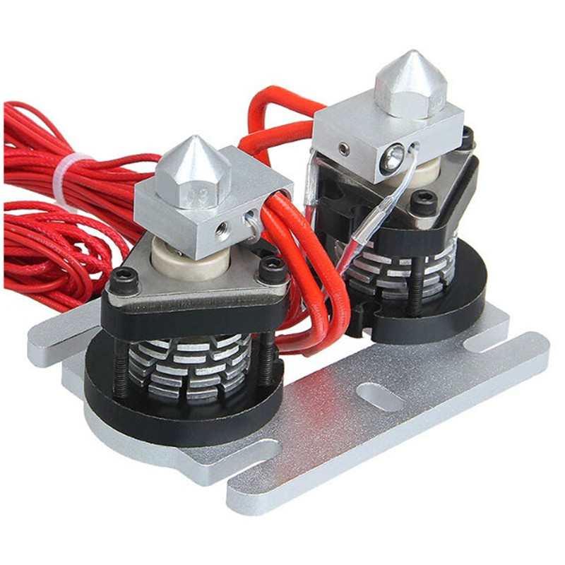 3D Printer Dual-head Hot End Extruder 0.3/0.35/0.4/0.5mm Nozzle Durable Quality 3D Printer Kit Parts Accessories 3pcs lot 3d printer parts assembled mk8 extruder hot end kit nozzle 0 2 0 3 0 4 0 5mm 12v 0 4mm accessories for creality 3d cr 7