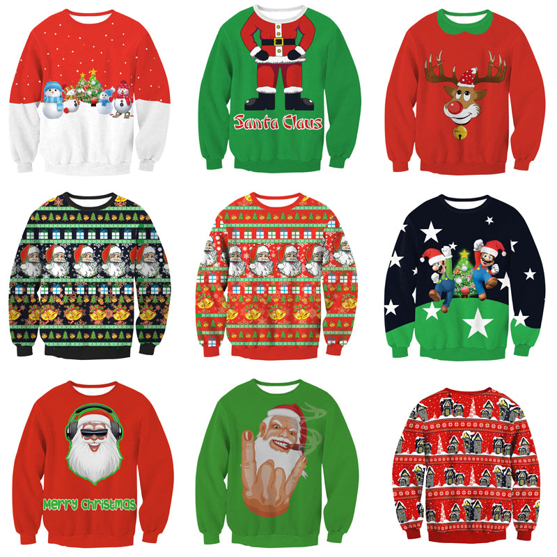 Unisex Men Women 2019 Ugly Christmas Sweater Vacation Santa Elf Pullover Funny Womens Men Sweaters Tops Autumn Winter Clothing