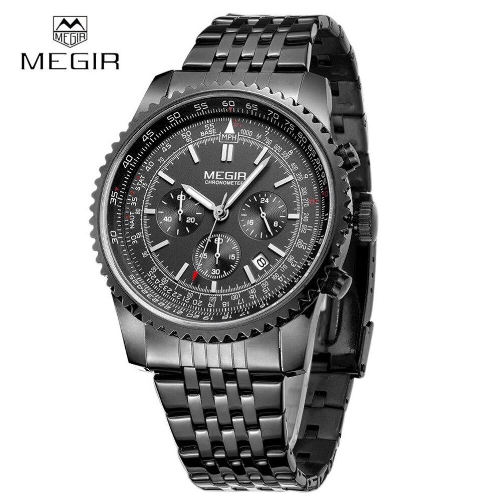 MEGIR mens Watches luxury top brand quartz large dial sports Chronograph Luminous steel dress wristwatch men relogio masculino цена и фото