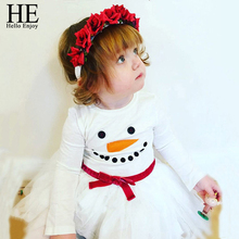 Hello Enjoy christmas dress girl Casual santa claus girls clothes white infant clothing china baby dresses