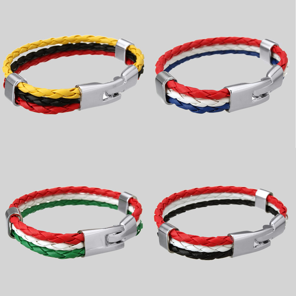 Pulseras Hombre Trends 2016 World Cup National Flags Sports 3 Strands Rope  Braided Surfer Leather Mens