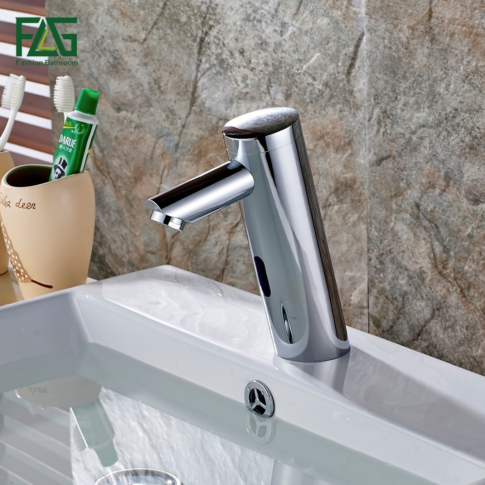 Water Saving Basin Faucet Chrome Cast Battery Power Automatic Infrared Sensor Cold Faucet Touch Free Faucets Mixer Water 8802 100% copper cold and hot water mixer sense faucet automatic sensor faucets basin hand washer dc6v ac110 220v dona4215