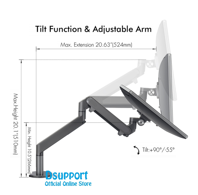 Image 4 - Dual Arm Monitor Mount Desk Stand,Fully Adjustable Aluminum  Monitor Holder Gas Spring Monitor TV Mounting for 17 32 OZ 2Monitor  Holder