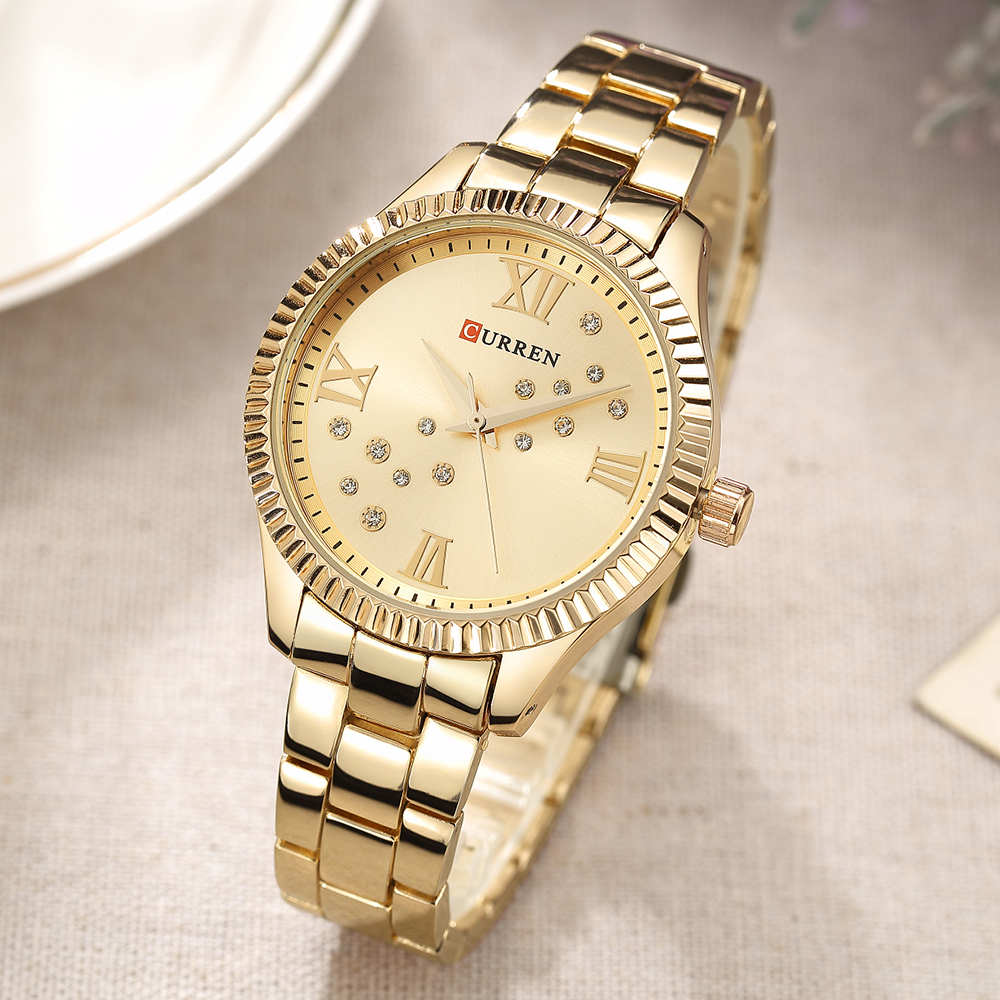 CURREN Golden Women's Wristwatch Stainless Steel Clock Womans Watch Ladies Crystal Small Dial Woman Watch 2019 Brand Luxury(China)