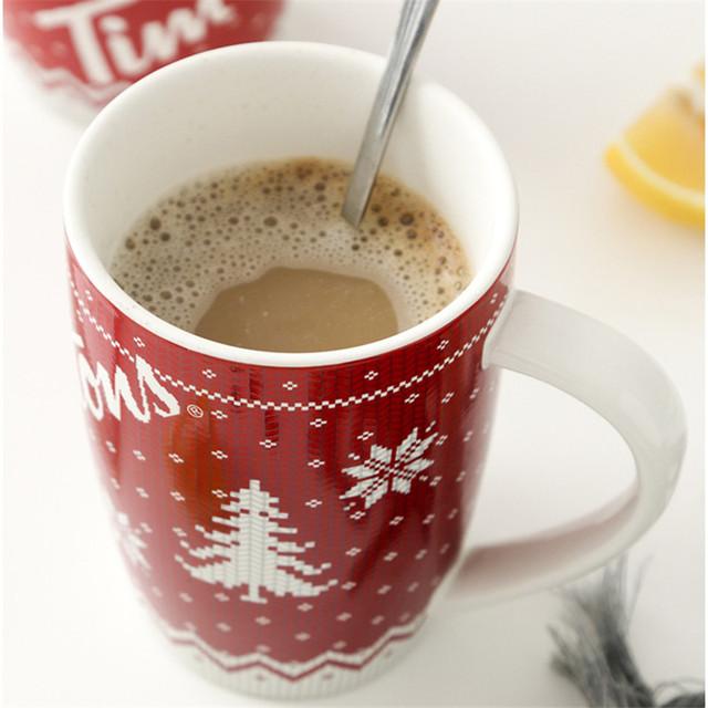 Christmas Tree Mugs Coffee Milk Cups Red Color Mugs Creative Home Morning Cup Ceramic Mug Tea Cup Drinkware Xmas Gifts
