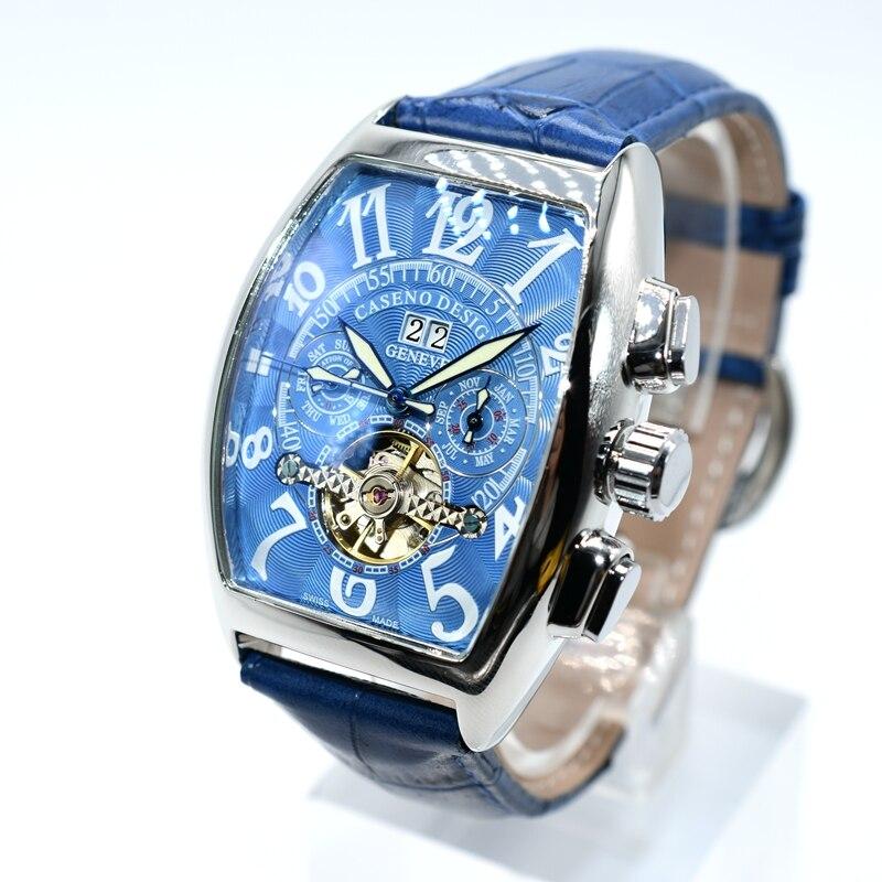 CASENO Tourbillon Automatische Mechanische Chronograph Männer Leder Watchd Skelett Herren Uhren Marke Luxury Sport Business Uhren-in Mechanische Uhren aus Uhren bei  Gruppe 3