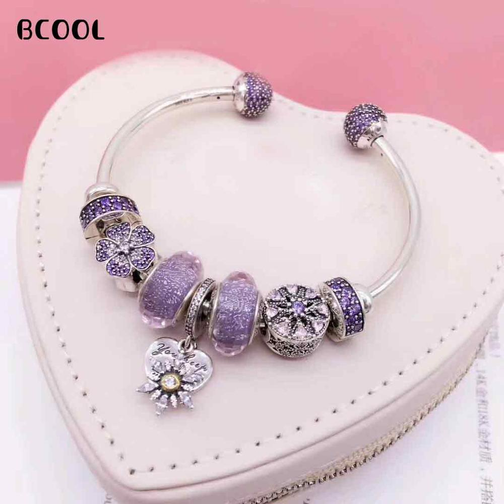 BCOOL DIY Jewelry Female Charm Fashion Silver 925 Original Bracelet, Suitable for Female Crystal Jewelry Bracelet Jewelry GiftBCOOL DIY Jewelry Female Charm Fashion Silver 925 Original Bracelet, Suitable for Female Crystal Jewelry Bracelet Jewelry Gift