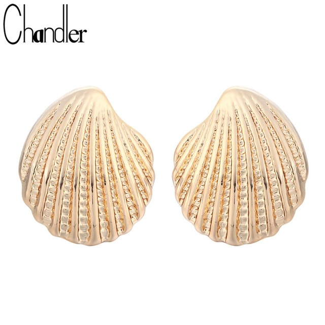Chandler Minimalist Vintage Plated Gold Shell Stud Earrings For Women Girls Maxi