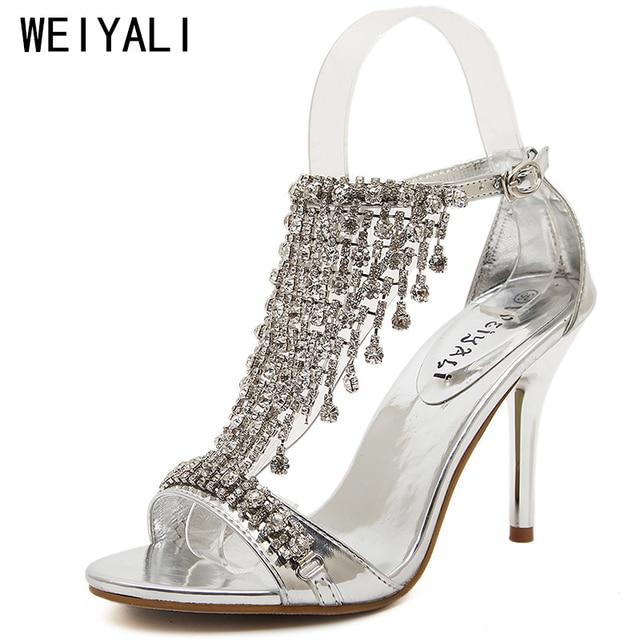 Glitter Crystal Sandals Women Gold Silver Heels Designer Shoes Women Luxury  2018 Stiletto Ladies Wedding Shoes Sapato Feminino c68900bc4b1a