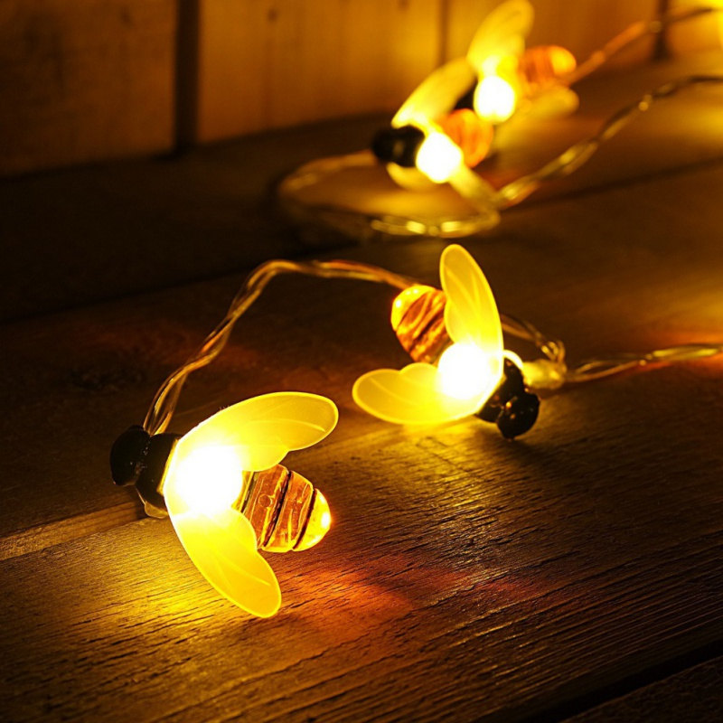 10LED Battery Operated Bee Shaped String Lights Holiday Party Fairy Lights Decorative Warm White PVC Wire Summer Lights 2.2M ...
