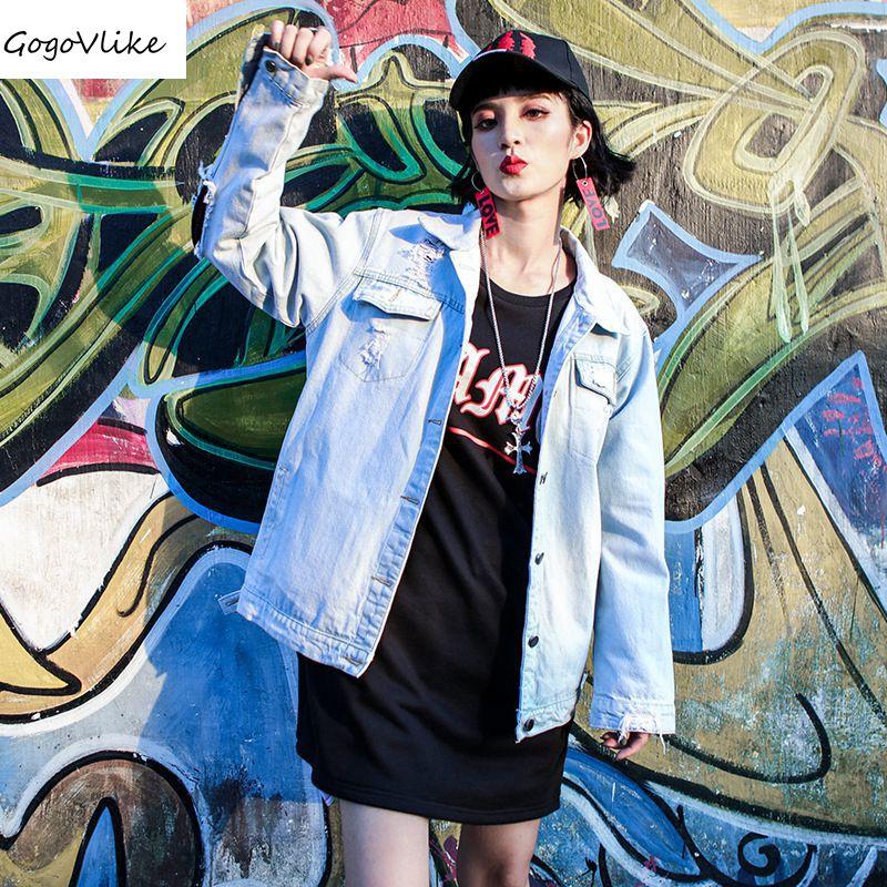 Hip Hop Red print Jean coat HARAJUKU women vintage loose Holes Denim jacket feminino jaqueta jeans Jacket LT452