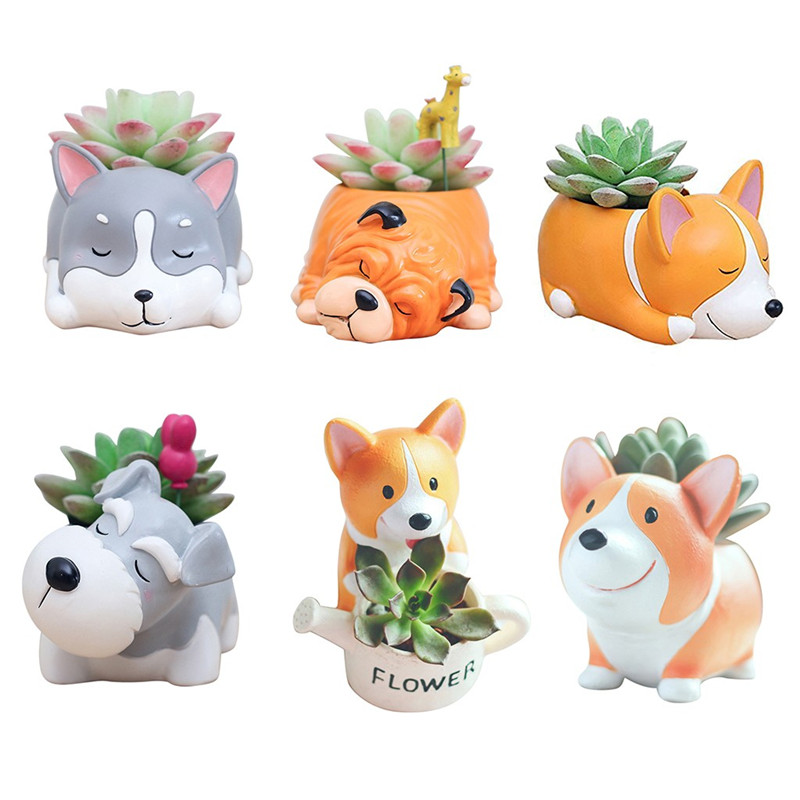 Image 1 - Lovely Corgi Dog Shaped Plant Decor Succulent Plants Decorative Flower  succulent can small plant pots planter wall-in Flower Pots & Planters from Home & Garden
