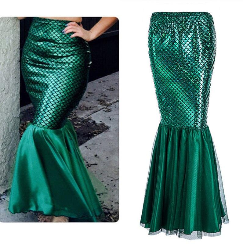Sequins The Little Mermaid Costume Princess Ariel skirt Women Bling Princess Ariel green fish tail skirt Fancy Cosplay Dress