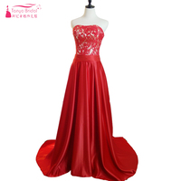 Red Prom Dresses 2018 Satin Lace Satin Long Detachable Skirts Strapless Evening Formal Gowns Special Occasion Dress ZP045