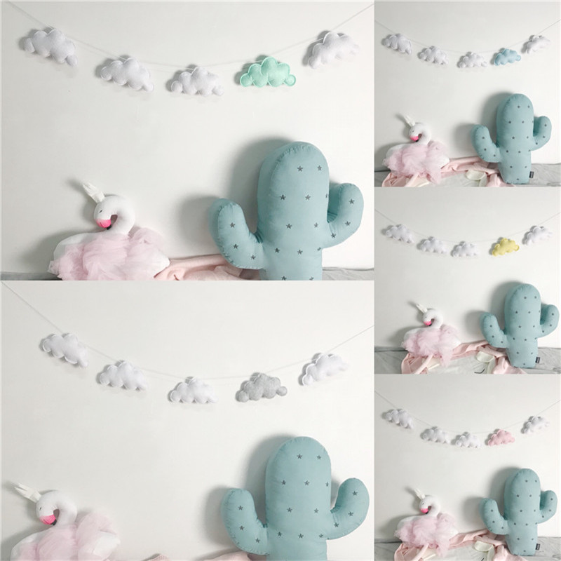 Beautiful Felt Cloud Garland Party Banner Kids Room Nursery Hanging Wall Decor Christmas Best Gifts Baby Shower Bunting Ornament