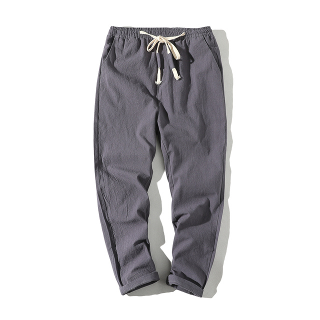 2019 High quality Men's Summer Casual Pants Natural Cotton Linen Trousers White Linen Elastic Waist Ankle-Length Man's Pants