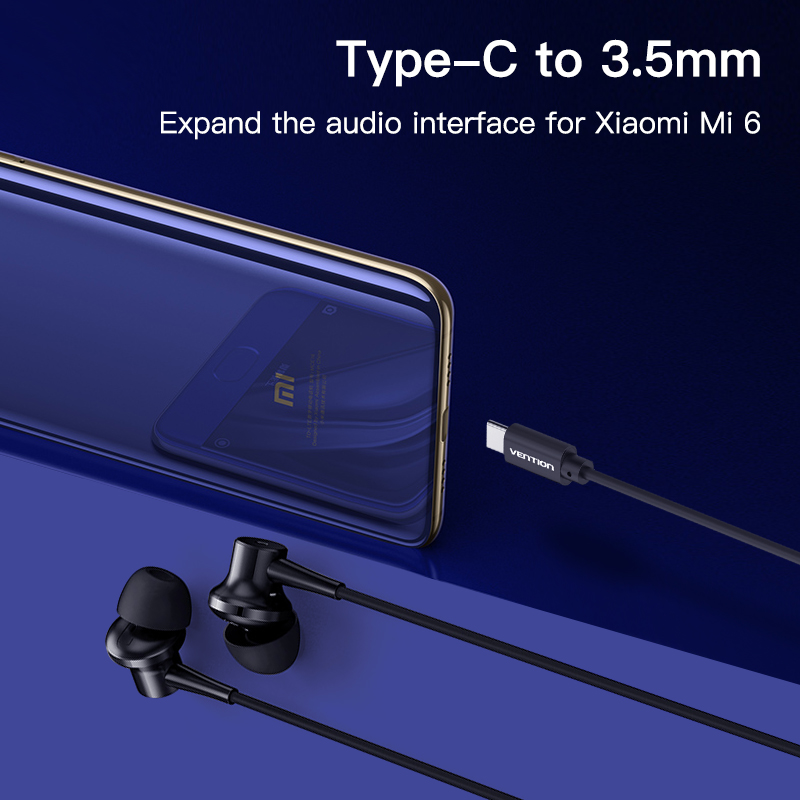 Vention USB Type C to 3.5mm Earphone Headphone Cable Adapter USB-C to 3.5mm Jack Aux Cable for Xiaomi Mi6