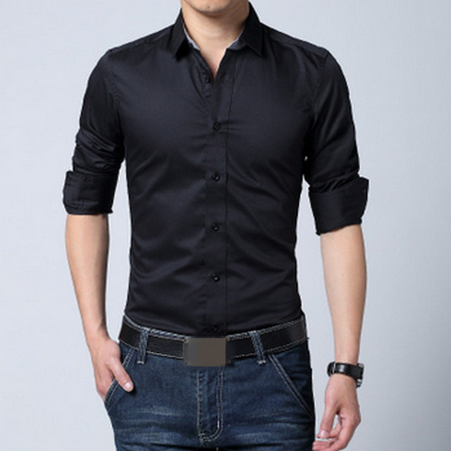 2017 mens dress shirts long sleeve men dress shirt slim. Black Bedroom Furniture Sets. Home Design Ideas