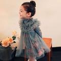 Vestido de los niños, 2016 del resorte del otoño vestidos de la muchacha, corea princesa vestido de flores partido impreso, bordado de los niños de malla ropa