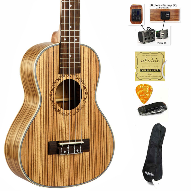 23 inch Ukulele Concert Zebra wood Hawaii 4 Strings Guitar Electric Ukelele guitarra music instrument Gitar with Pickup EQ