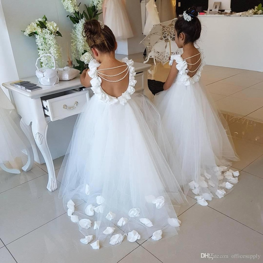 Princess Tulle Ball Gown White   Flower     Girl     Dresses   2019 Backless Pears Floral   Girls   Pageant   Dress   Wedding Birthday Party Gown