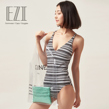Julysand Sexy V Neck One Piece Swimsuit  Women Black Striped Bathing Suits 18W145