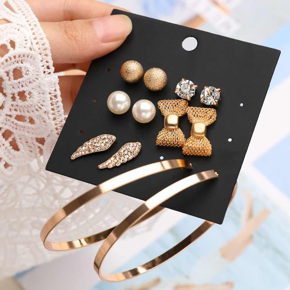 Punk 6 Pairs Pack Set Brincos Mixed Stud Earrings For Women Crystal Ear Studs Fashion Simulated Pearl Jewelry Wholesale Earrings