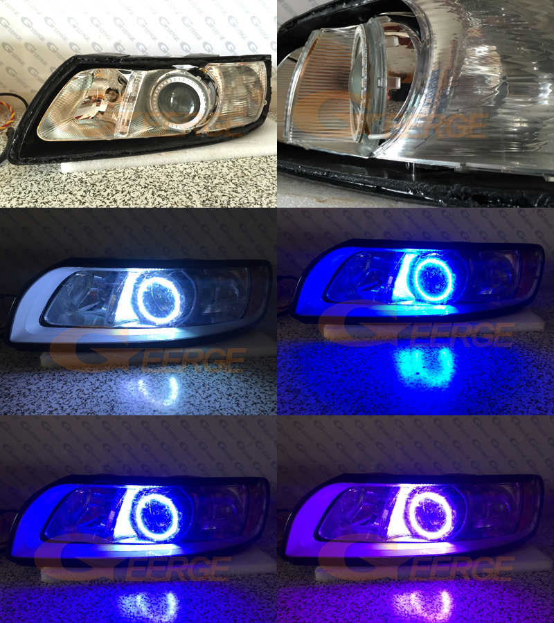 For Volvo S40 V50 2008 2009 2010 2011 headlight RF Bluetooth Controller  Multi-Color Ultra bright RGB LED Angel Eyes kit