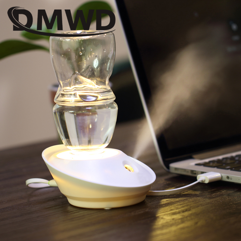 USB Mini Humidifier Worked With Separate Water Bottle (No Leakage) Mute Design Atomizer With Night Light Lamp Ultra Fine Mist Maker