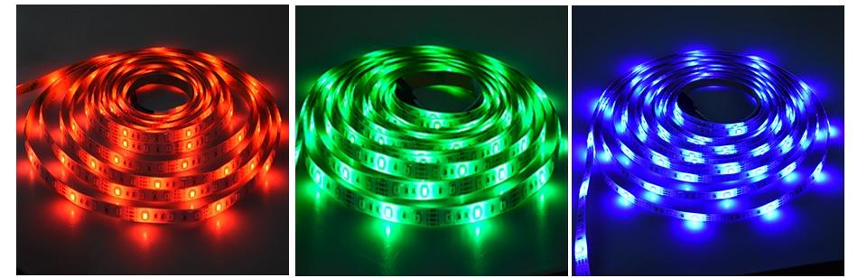 2835 SMD RGB USB charger LED Strip light DC 5V USB Cable LED Light lamp Flexible Tape 1M 2M 3M 4M 5M RF IR RGB Remote control (5)