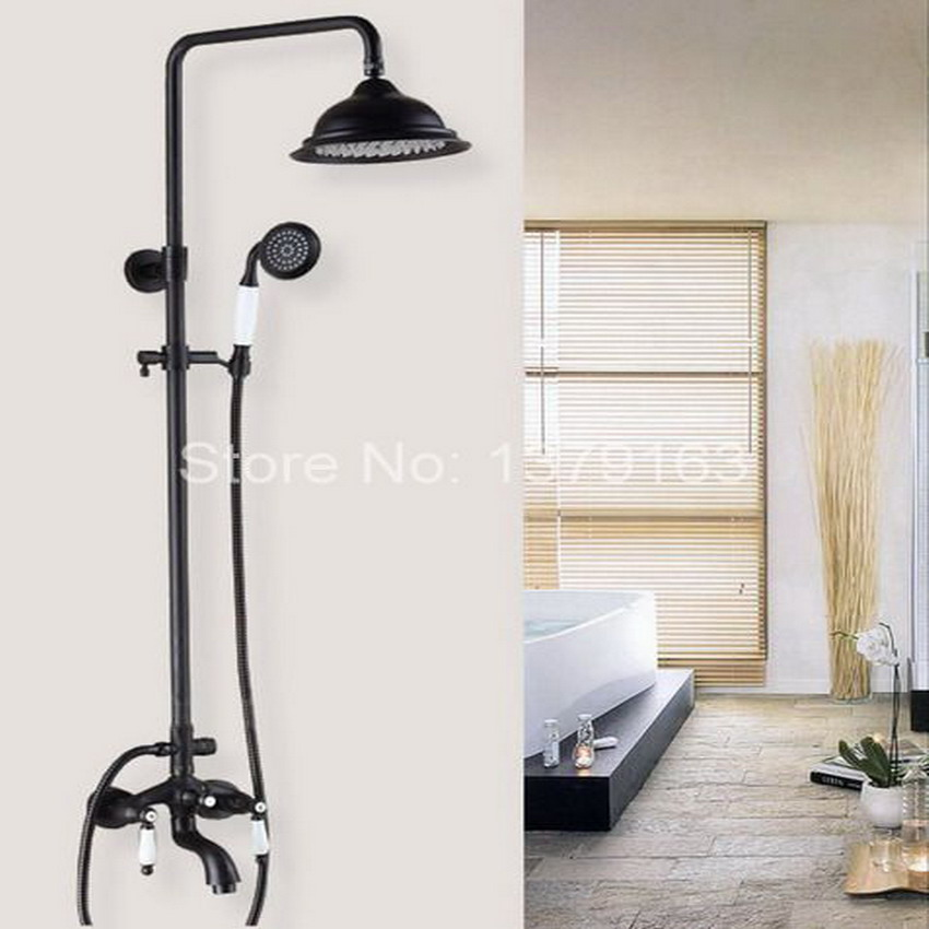 Black Oil Rubbed Brass Wall Mounted Bathroom Waterfall 8.2 Round Rain & Hand Shower & Tub Faucet Set Dual Ceramic Lever ahg047