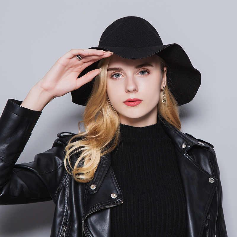 Otoño Invierno nueva mujer sombrero europeo y americano clásico viaje al aire libre grandes eaves lana hombres y mujeres sombrero de rendimiento MZ-10
