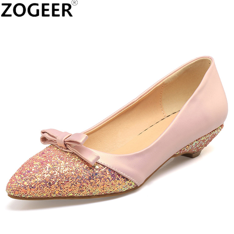 New Casual Low Heels Casual Shoes Women Pumps Sweet Bow