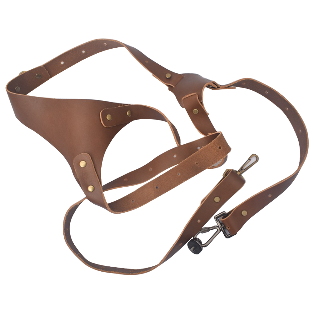Fashion Anti lost Double Shoulder Outdoor Camera Strap Adjustable Carrying DSLR Tether Photography Genuine Leather Accessories