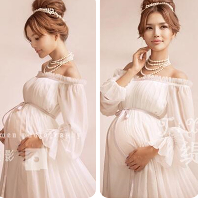 New Elegant Maternity Pregnant Women Photography Props Romantic  Shoulderless Long White Dress Photo Shoot Fancy Baby