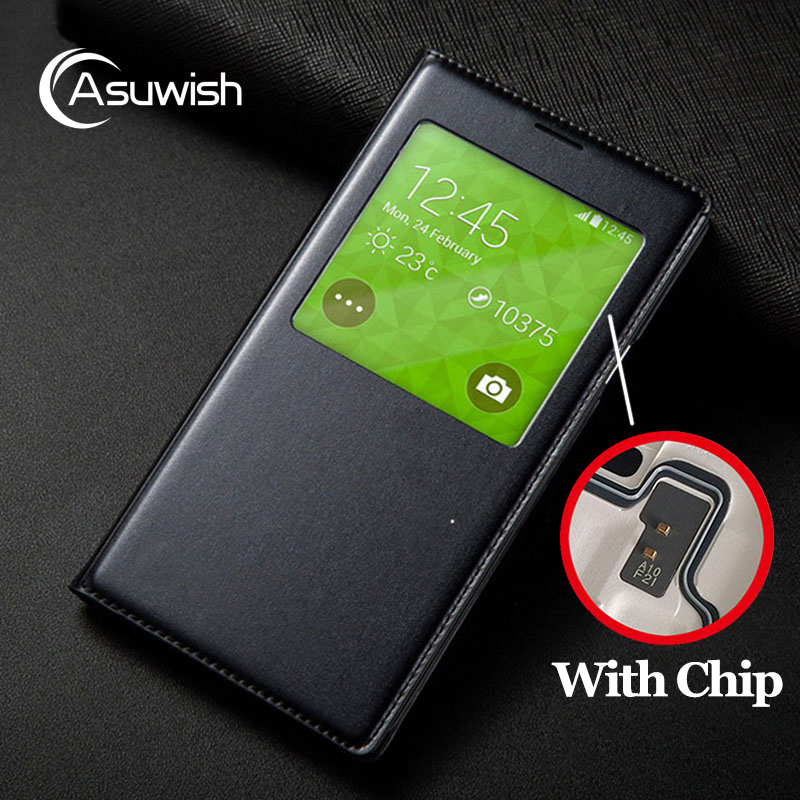 Flip Cover Leather Phone Case For Samsung Galaxy S5 S 5 Galaxys5 Samsungs5 SV I9600 SM G900 G900F G900FD SM-G900F Smart View