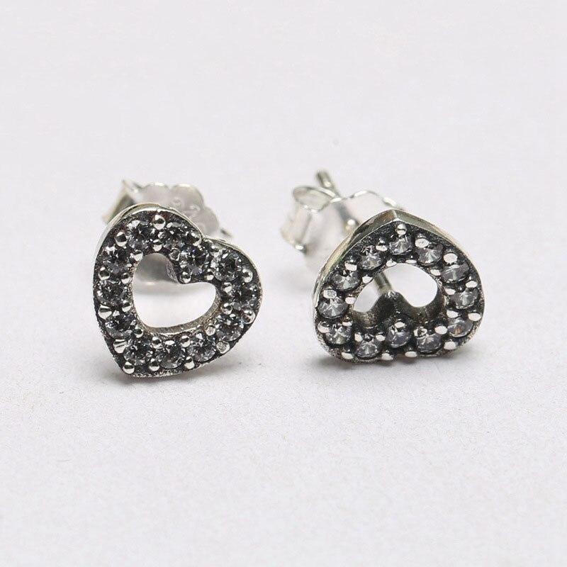 Fashion 100 925 Sterling Silver Branded Earrings For Women Open Heart Pave Silver Stud Earrings Fine Original Europe Jewelry in Stud Earrings from Jewelry Accessories