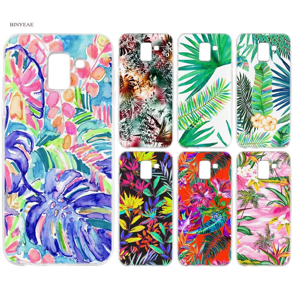 BINYEAE Tropical floral leaf Silicone TPU Case Cover for Samsung Galaxy J6 S8 S9 A6 A8 Plus J4 J8 2018 J3 J5 J7 2017