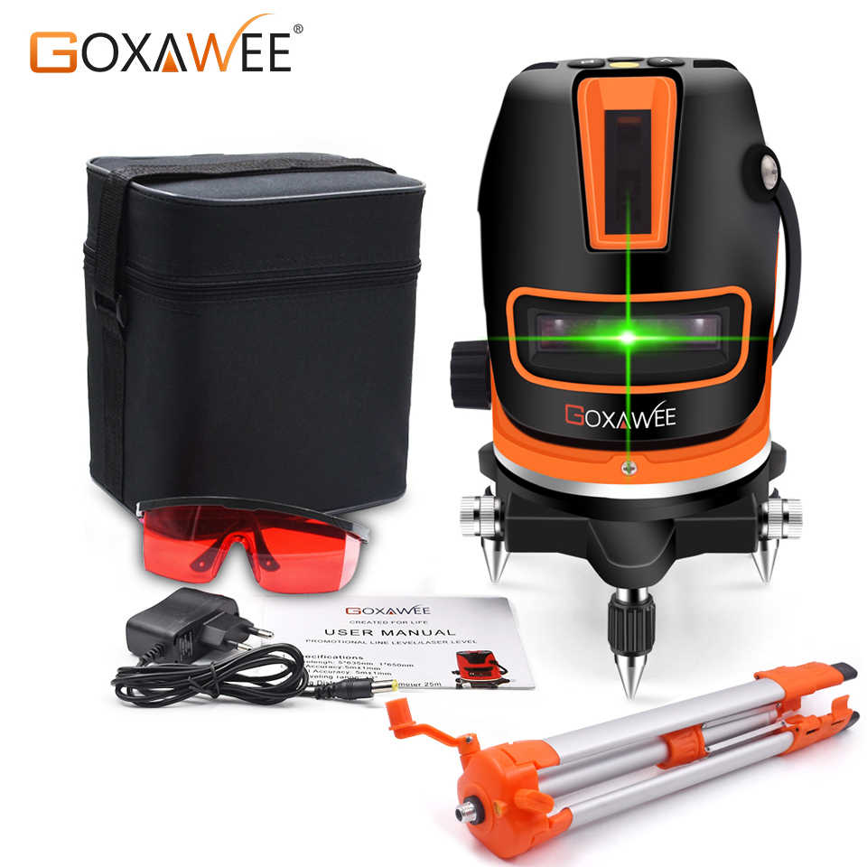 GOXAWEE 5 Lines 6 Points Green Laser Level Automatic Self Leveling 360 Degree Rotary Cross Vertical And Horizontal Buliding Tool